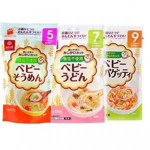 Photo1: はくばく ベビー そうめん うどん スパゲティ 3種類 15袋セット 離乳食 麺類 塩分ゼロ (1)