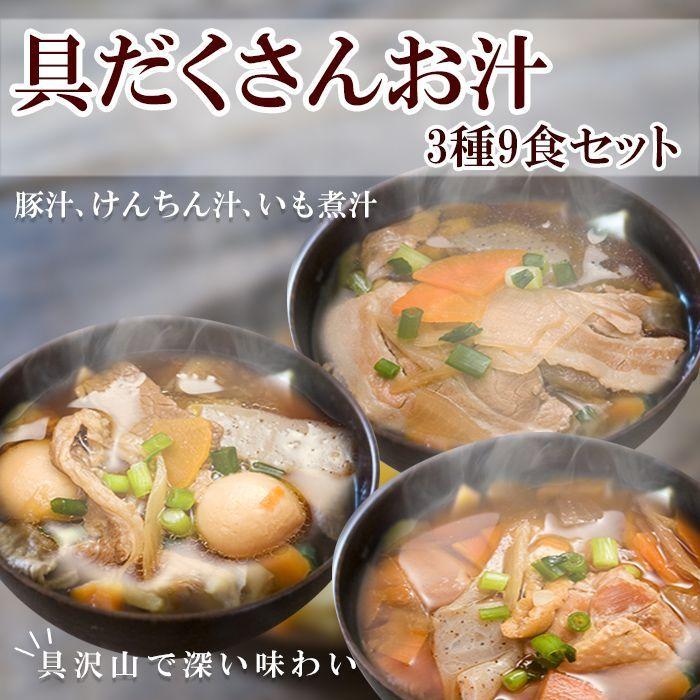 Photo1: レトルト惣菜 具だくさんお汁 3種9食セット (豚汁、けんちん汁、いも煮汁) 1年保存 (1)