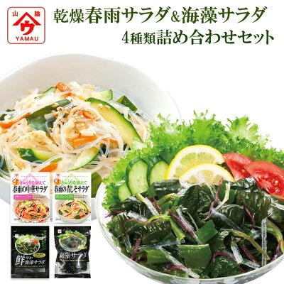 Photo1: 魚の屋 乾燥 春雨サラダ 海藻サラダ 4種類 計12袋 詰め合わせセット 簡単調理 ヘルシー 野菜 ランチ 夜食 和え物 (1)